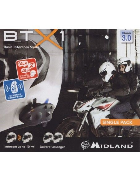 BTX1 SINGLE INTERFONO BLUETOOTH PER MOTO VERSIONE SINGOLA