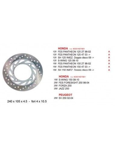 BRAKE DISC FRONT HONDA PANTHEON, FORESIGHT