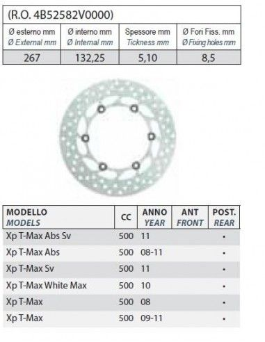 BRAKE DISC REAR YAMAHA TMAX 500 T-MAX 500 IE 2008 - 2011 COMMERCIAL