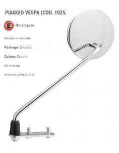 Left rear-view mirror, chrome Piaggio Vespa 50 125 150 200 Approved best price