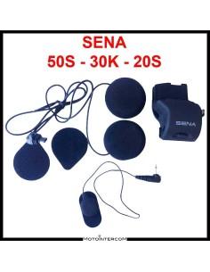 Kit de audio compatible con micrófono con cable Sena 50S 30K 20S y altavoces Slim HD de 45x8 mm