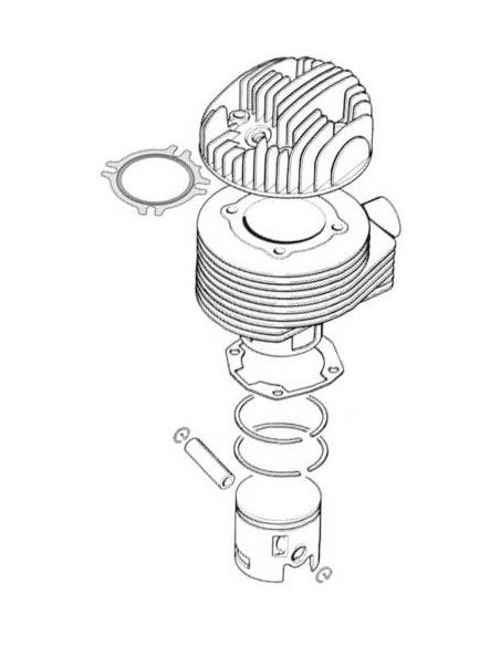 Cylinder, piston, and spare parts